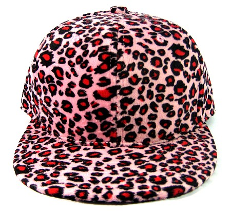Blank Plain Leopard Snapback Hats Wholesale - Strawberry Pink - Kimo