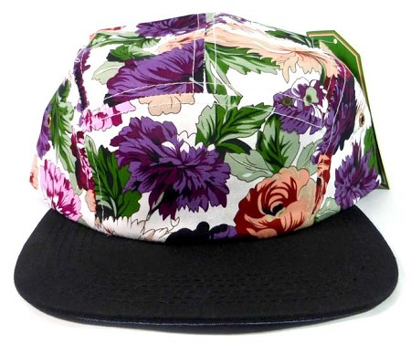 Wholesale 5 Panel Floral Camp Hats Caps - Purple Flower | Black