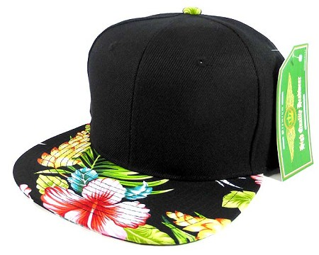 Floral Snapback Hats Caps Wholesale - Black | Hawaiian Hibiscus Flower
