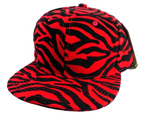 Wholesale Zebra Snapback Hats Caps - Red Black