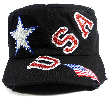 Wholesale USA Rhinestone Women's Cadet Hats - Black