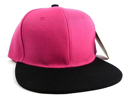 Wholesale Blank Snapback Hats Caps - Hot Pink | Black