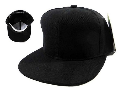 Blank Black Snapback Caps Hats Wholesale Black Under Bill