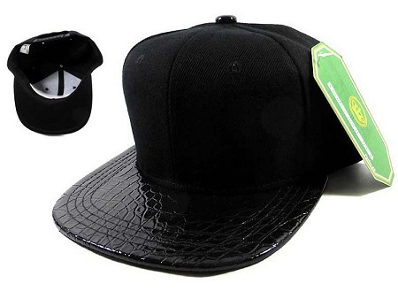 Junior Kids Blank Alligator Snapback Hats Wholesale - Croc | Black Under Brim