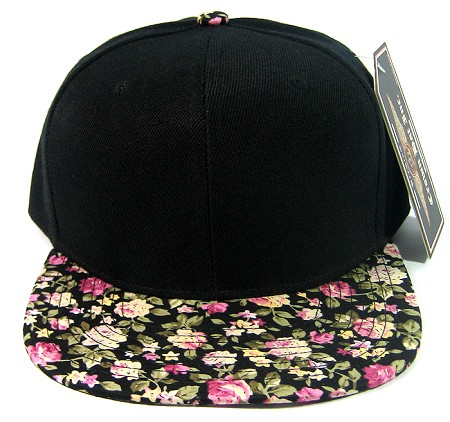 Blank Vintage Floral Snapback Hats Wholesale - Small Flower Black | Pink