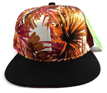 Wholesale Blank Floral Snapback Hats - Spiky Orange Black 1