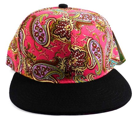 Wholesale Women's Blank Paisley Snapback Hats Caps 4