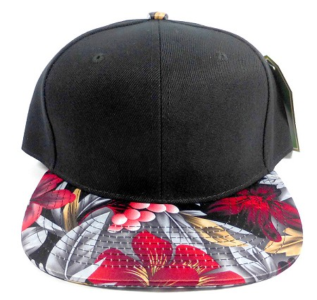 Wholesale Blank Floral Snapback Hats - Cherry Black 3