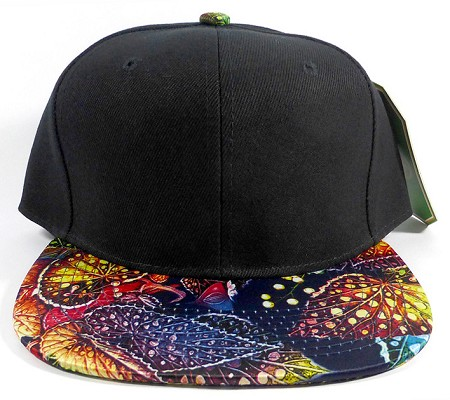 Wholesale Blank Floral Snapback Hats - Floral Navy Leaves 3