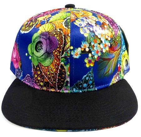Wholesale Blank Floral Snapback Hats - Floral Blue Leaves 2
