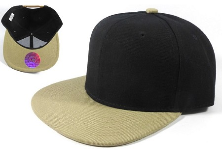 Blank Snapback Hats Caps Wholesale - Black Khaki