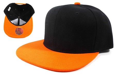 Blank Snapback Hats Caps Wholesale - Black Orange