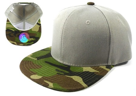 Blank Snapback Hats Caps Wholesale - Light Gray | Camo