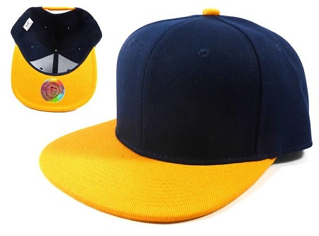 Blank Snapback Hats Caps Wholesale - Navy | Golden Yellow
