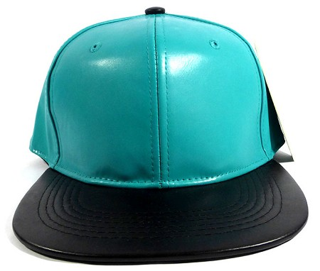 Faux Leather Blank Snapbacks Wholesale - Turquoise | Black