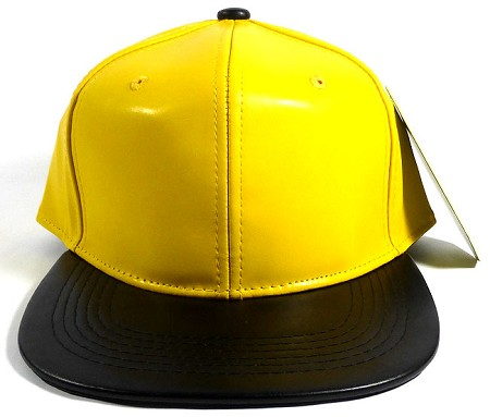 Faux Leather Blank Snapbacks Wholesale - Canary Yellow | Black