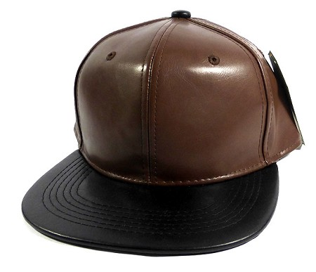 Faux Leather Blank Snapback Caps Wholesale - Brown | Black