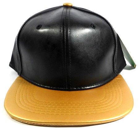 Faux Leather Blank Snapback Hats Wholesale - Black | Gold
