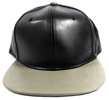 Faux Leather Blank Snapback Hats Wholesale - Black | Gray