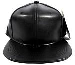 Blank Black Faux Leather Snapbacks Wholesale - Black
