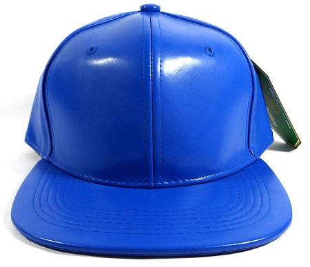 Blank Faux Leather Snapback Hats Wholesale - Blue