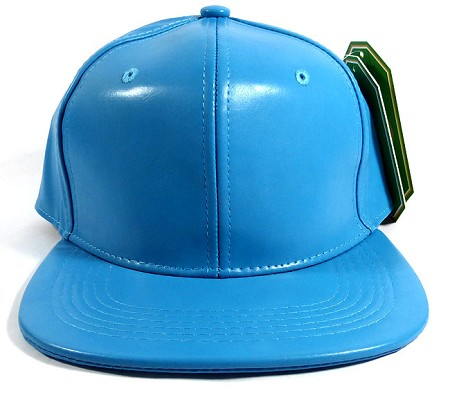 Plain Faux Leather Snapback Hats Wholesale - Sky Blue