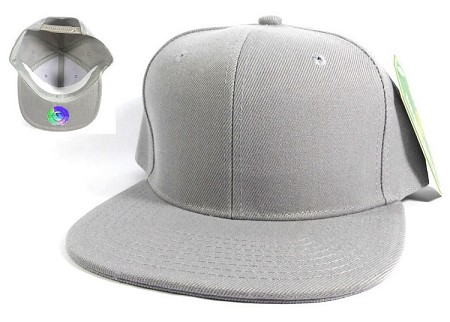 Blank Snapback Caps & Hats Wholesale - L.Gray Solid