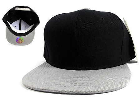 Blank Snapbacks Caps Wholesale | 2-Tone Black Gray