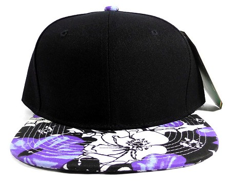 Wholesale Blank Hawaiian Floral Snapback Caps - Purple Hibiscus