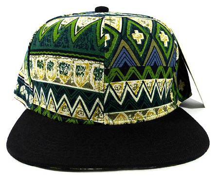 Wholesale Aztec Snapback Hats Caps - Green Pattern