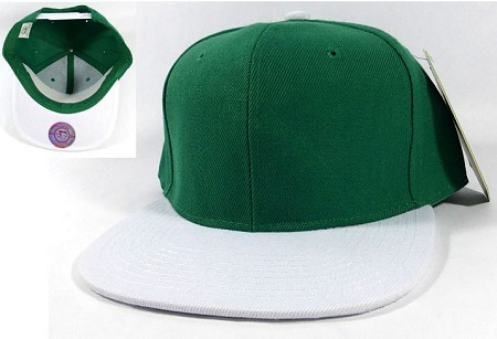 Blank Snapback Hats Caps Wholesale - Kelly Green | White