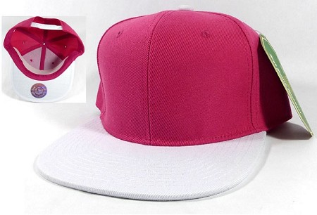 Blank Snapback Hats Caps Wholesale - Hot Pink | White
