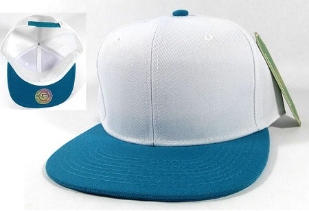 Blank Snapback Hats Caps Wholesale - White | Turquoise