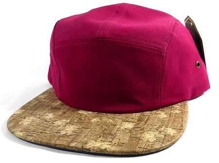 Wholesale Blank Wooden Cork 5-Panel Hats Caps - Burgundy | Floral