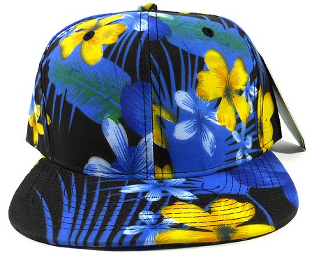 Blank Floral Snapback Hats Wholesale - Night Hawaiian Flower