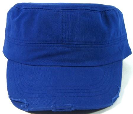 Blank Cadet Hats Wholesale - Royal Blue Distressed Caps