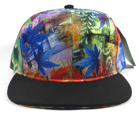 Wholesale Plain Caps Hats Multicolor Leaves - Black Brim