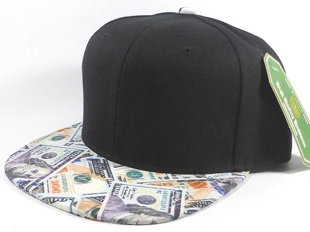 Wholesale Blank Dollar Bill Snapbacks Hats | Black / Dollar