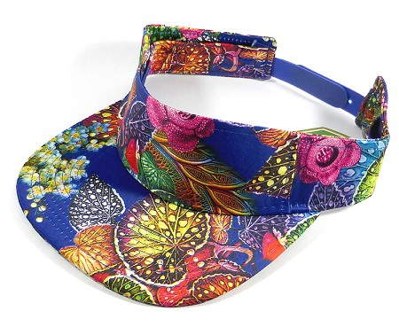 Flatbill Wholesale Blank Snap back Hats Visor - Blue and Multicolor Leaves