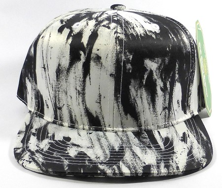 Wholesale Blank Art Pattern Snapback Caps - Solid Wet Paint - Black