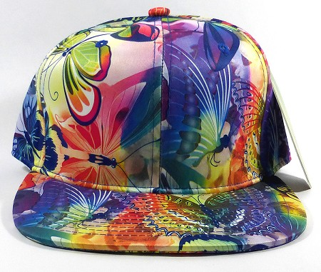 Wholesale Blank Flower Snapbacks Hats | Butterfly and Dragonfly | Rainbow Navy