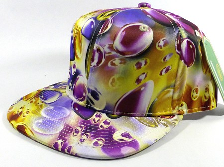 Wholesale Blank Marble Art Snapback Caps | Waterdrop Print | Purple
