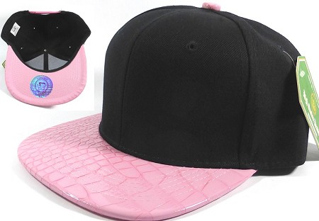 Wholesale Faux Blank Alligator Skin Snapback Hat | Black - Light Pink