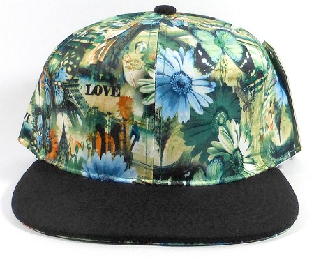 Wholesale Blank Flowers Snapbacks Hat | Daisy Love | Green and Black