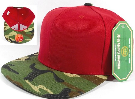 Wholesale Blank Snapback Hats Caps - Red | Camo