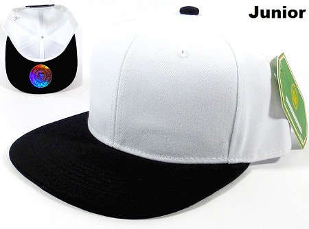 KIDS Jr. Blank Snapbacks Hat Wholesale - White Black