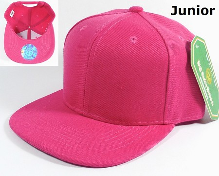 KIDS Blank Jr. Snapback Hats Wholesale - Solid Hot Pink