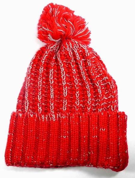 Wholesale Long Cuff Knit Pom Pom Beanie Hats - Mixed Threads - Red | Gray
