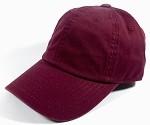 Washed 100% Cotton Blank Baseball Cap - New Strapback / Buckle - Burgundy