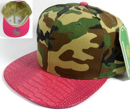 Wholesale Blank Alligator Snapback Hats Caps - Camo | Hot Pink
